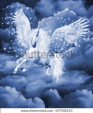 cf7754278326 Computer graphics scene with a white pegasus in the clouds - Illustration