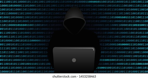 computer hacker cybercrime concept with binary code web background illustration
