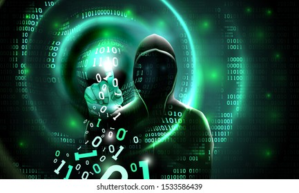 Computer hacker with a hood touches the touch screen binary code. Light waves on abstract binary dark background hacker silhouette. Hacking computer system, database server, data theft