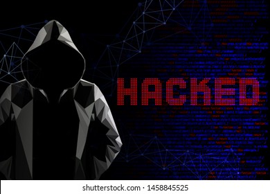Computer hacking concept with faceless hooded male person low poly, red and blue lit image and digital glitch effect