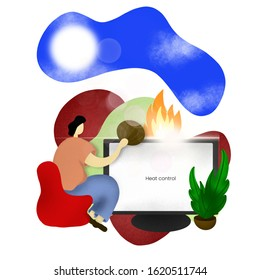 Computer heat control illustration - computer cooler - workstation