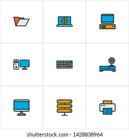 Computer icons colored line set with folder, server, computer monitor and other screen elements. Isolated illustration computer icons.