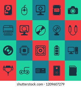 Computer icons set with sd card, photocamera, personal computer and other music elements. Isolated  illustration computer icons.