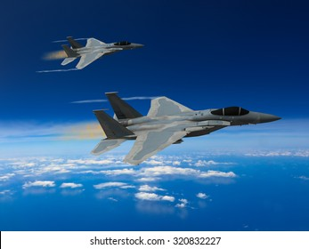 Computer Illustration - Modern US style jet fighters at high altitude in fast flight.