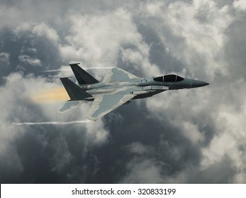 Computer Illustration - Modern US style jet fighters at high altitude in fast flight. Blurred motion background.