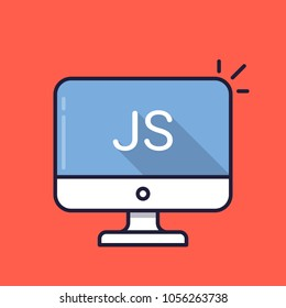 Computer with JS word on screen. Javascript scripting language. Web development, create js script, coding, learning concepts. Simple line icon. Modern long shadow flat design illustration