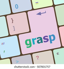 Computer keyboard button with grasp button