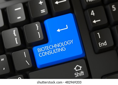 Computer Keyboard with Hot Keypad for Biotechnology Consulting. 3D Render.