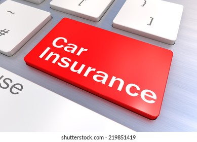 Computer keyboard rendered illustration with a Car Insurance Button Concept