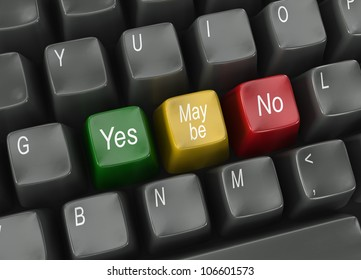 Computer keyboard with vote choices Yes, Maybe or No