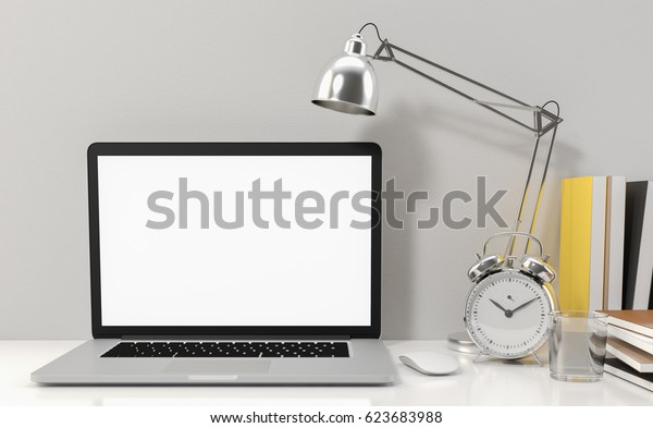 Computer laptop blank screen on white office desk, workspace mock up design illustration 3D rendering