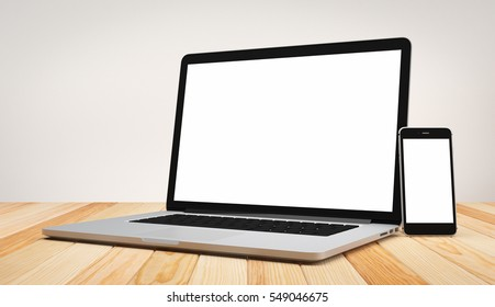 Computer laptop smart phone blank screen on wood table and cement background workspace mock up design illustration 3D rendering