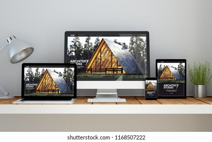 A computer, laptop, smartphone and tablet on a desktop workspace with real estate online responsive website on screen. 3d Illustration. All screen graphics are made up.