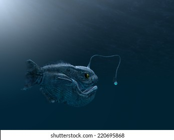 computer made illustration of an ancient angler fish