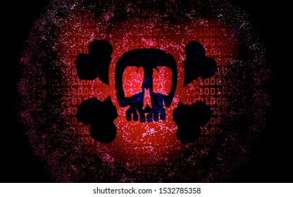 computer malware with a skull and binary code