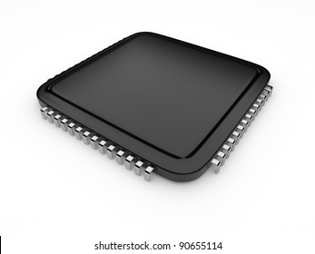 Computer microchip CPU. Icon 3D.  isolated on white background