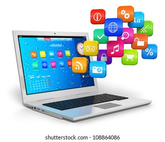 Computer mobility, internet communication and cloud computing concept: white laptop with cloud of color application icons isolated on white background