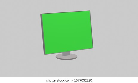 Computer Monitor Isolated on Grey Background. 3D rendering