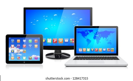 Computer monitor, laptop and tablet pc with a blue background and colorful apps on a screen. Isolated on a white. 3d image