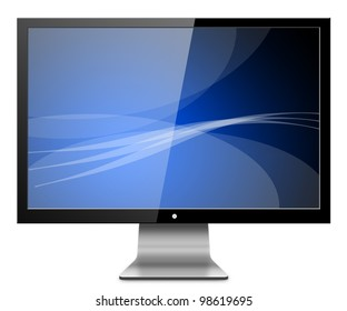 Computer Monitor, like appled with blue screen. Isolated on white background.