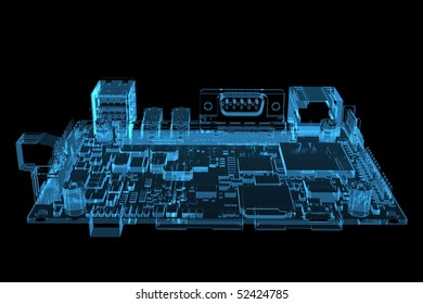 Computer motherboard 3D rendered xray blue transparent