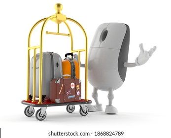 Computer mouse character with hotel luggage cart isolated on white background. 3d illustration