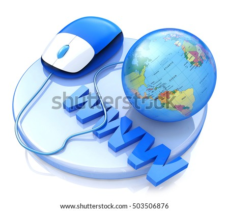 computer mouse connected globe 3 d illustration stock illustration
