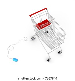 Computer mouse connected to a  shopping cart via cable