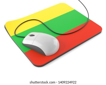 Computer mouse with mouse pad in lithuanian flag isolated on white background. 3d illustration