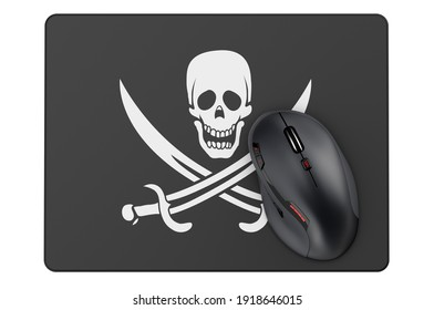 Computer mouse and mouse pad with piracy flag, 3D rendering isolated on white background