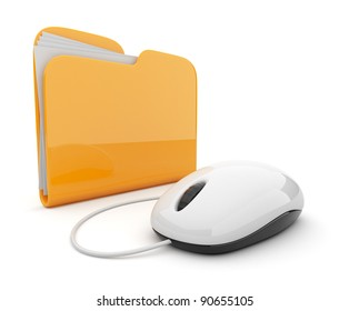 Computer mouse and yellow folder.  3D illustration isolated on white