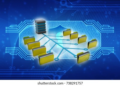 Computer network with data sharing, data sharing concept. 3d render