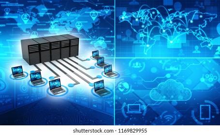 Computer Network, Global internet Communication Concept. 3d rendering