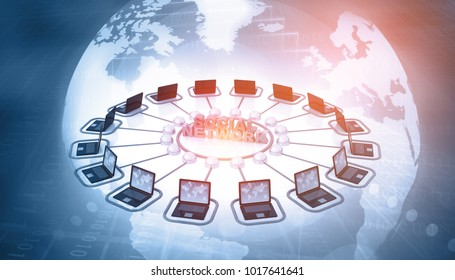Computer Network and internet communication concept. 3d illustration