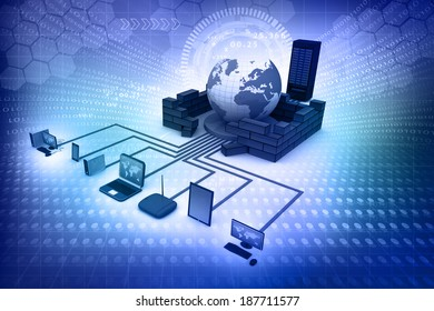 Computer Network and internet communication concept on abstract background