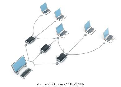 Computer network.3d render