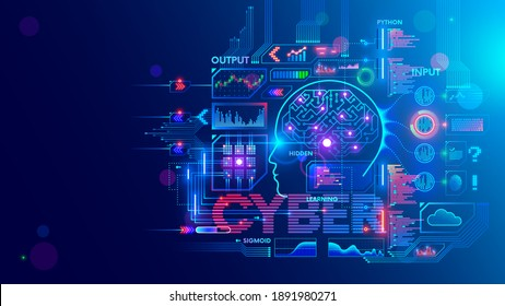 Computer neural network or AI. Abstract interface elements of artificial intelligence. Deep machine learning. Big data processing technology. Cybernetic Head with electronic brain with neuron signal.