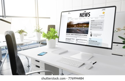 computer with news website at modern office 3d rendering