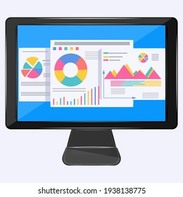 Computer - on-screen diagrams and charts  . Business concept.