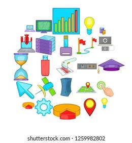 Computer peripherals icons set. Cartoon set of 25 computer peripherals icons for web isolated on white background