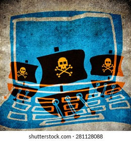 computer pirate concept digital illustration