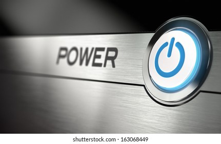 Computer power button with metal background. Realistic 3D render with blur effect