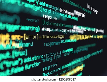 Computer programming code. Online safety, hacking and digital firewall background 3D illustration