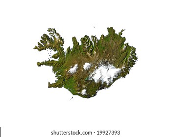 Computer Render Of Iceland On White Background