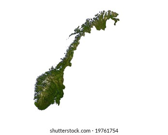 Computer Render Of Norway On White Background