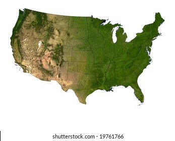 Computer Render Of The USA On White Background Showing State Borders