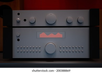 Computer rendered illustration of one hifi forwards and final amplifier in dark diffusion background
