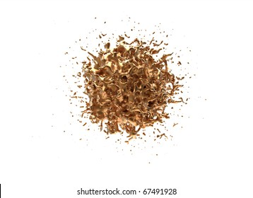 Computer rendering of a blob made of golden metal isolated on white