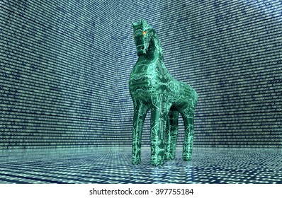 computer safety concept, trojan horse in electronic environment. 3D illustration.