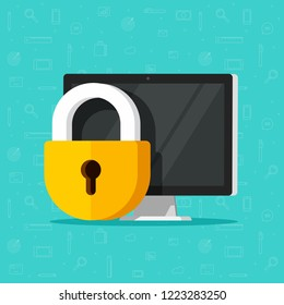 Computer security illustration isolated, flat cartoon design desktop pc protected with lock, concept of firewall protection, privacy access, private data, safety service or system image